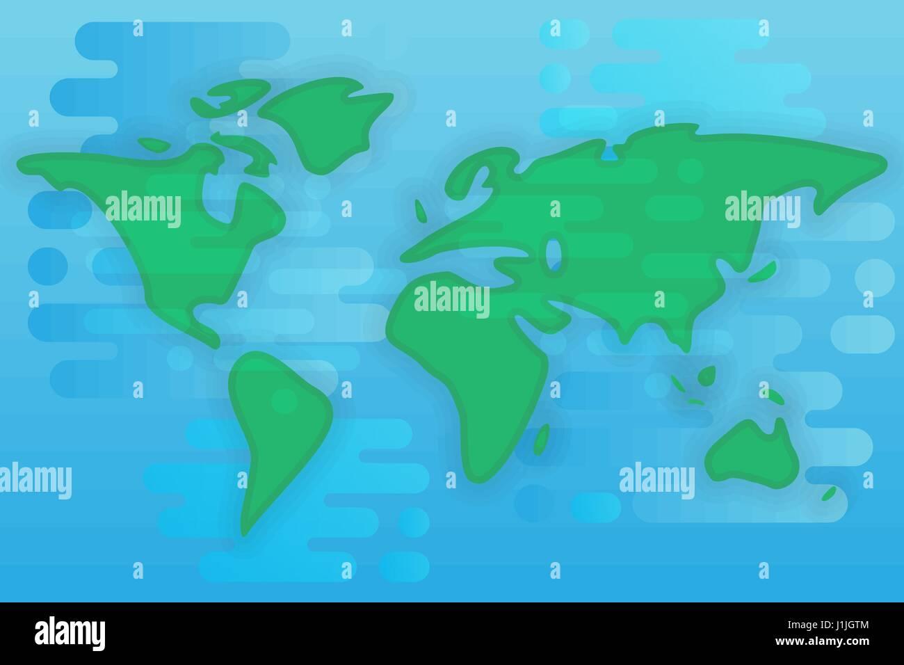 World Map Cartoon Flat Illustration Stock Vector Art - World flat map