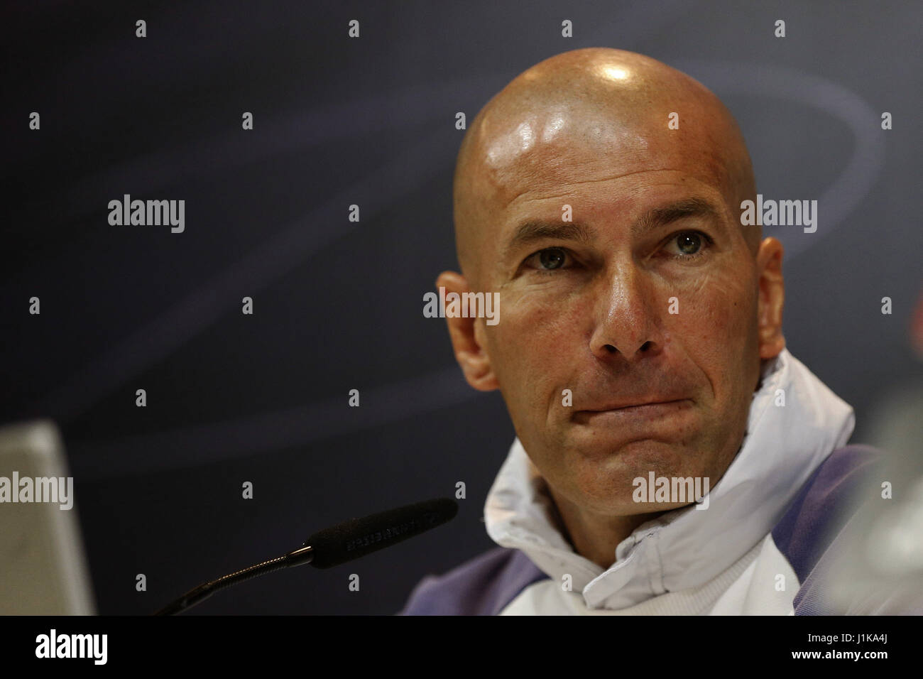 Real Madrid s French head coach Zinedine Zidane during a press