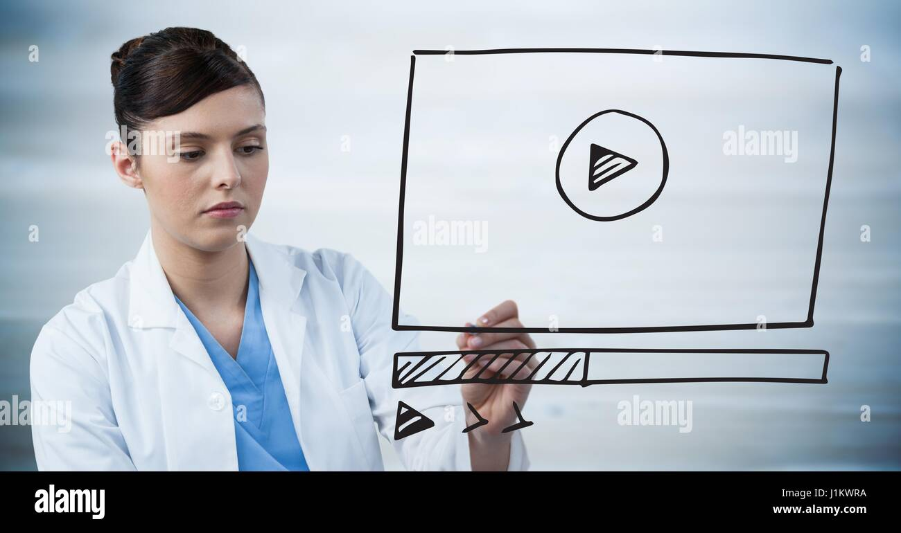 Digital composite of Doctor with marker and website mock up ...