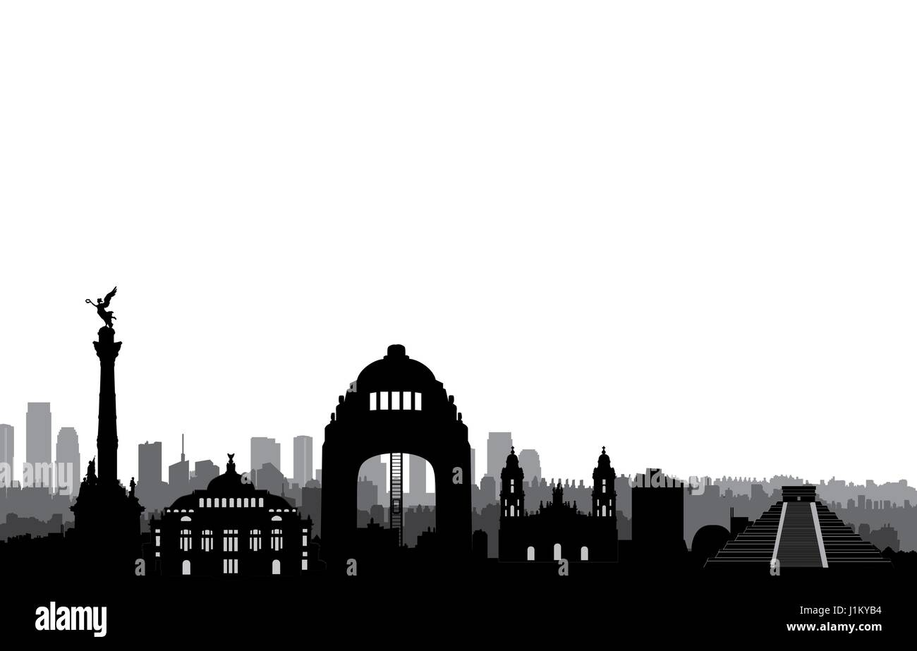 Mexico City Skyline. Cityscape Silhouette With Landmarks