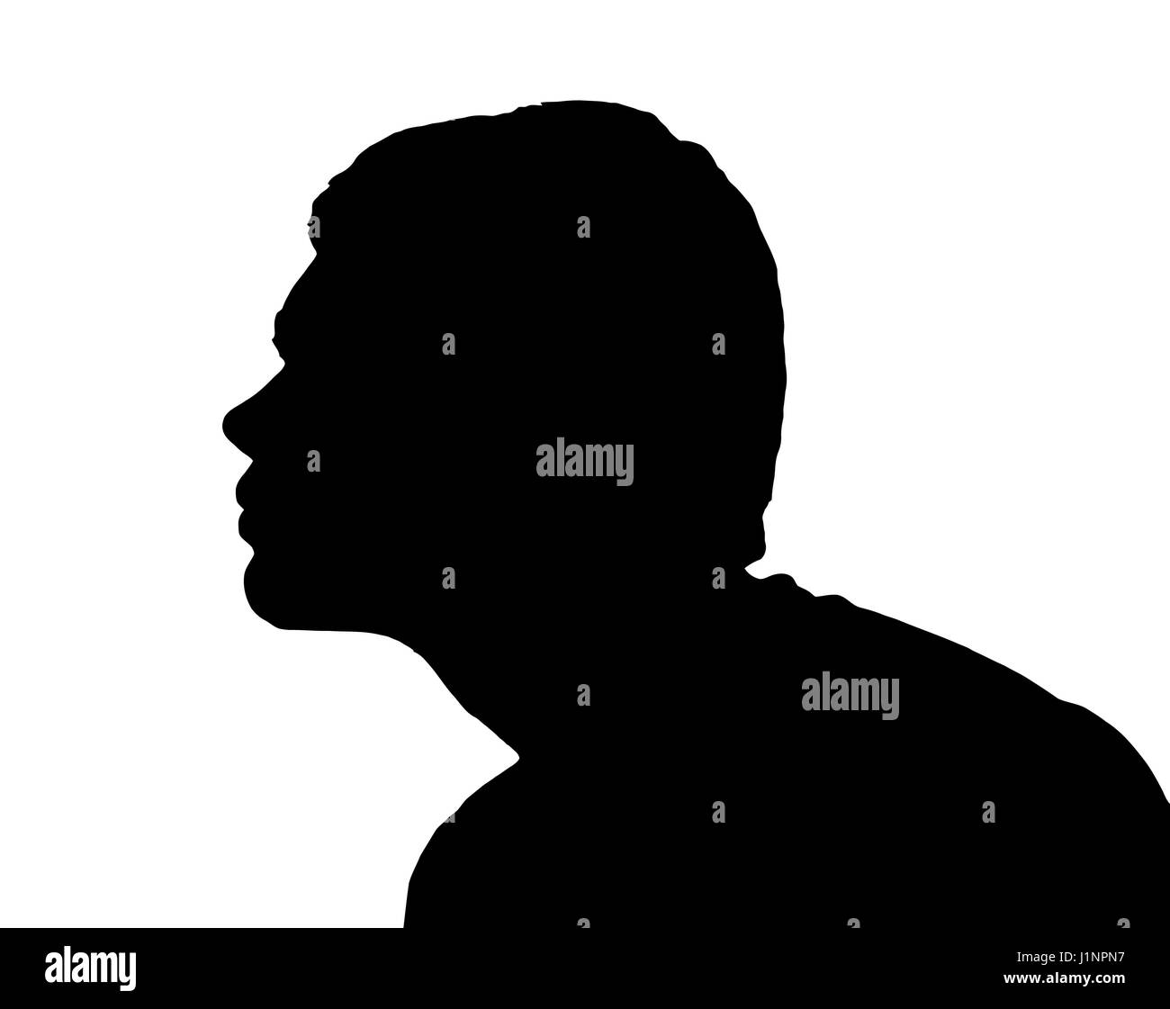 side profile portrait silhouette of a teenage boy leaning forward for kiss