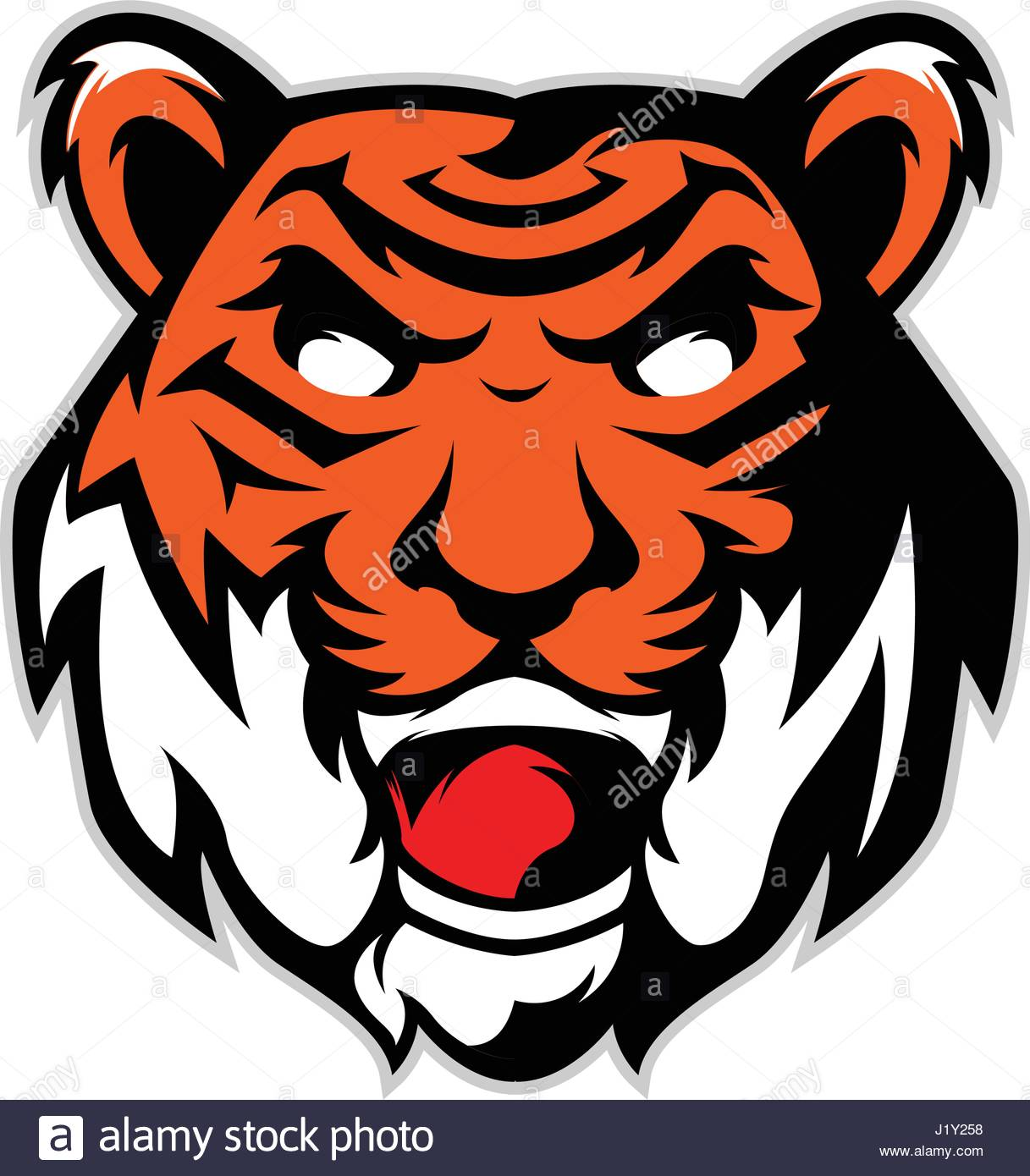 tiger head mascot logo isolated in white background stock