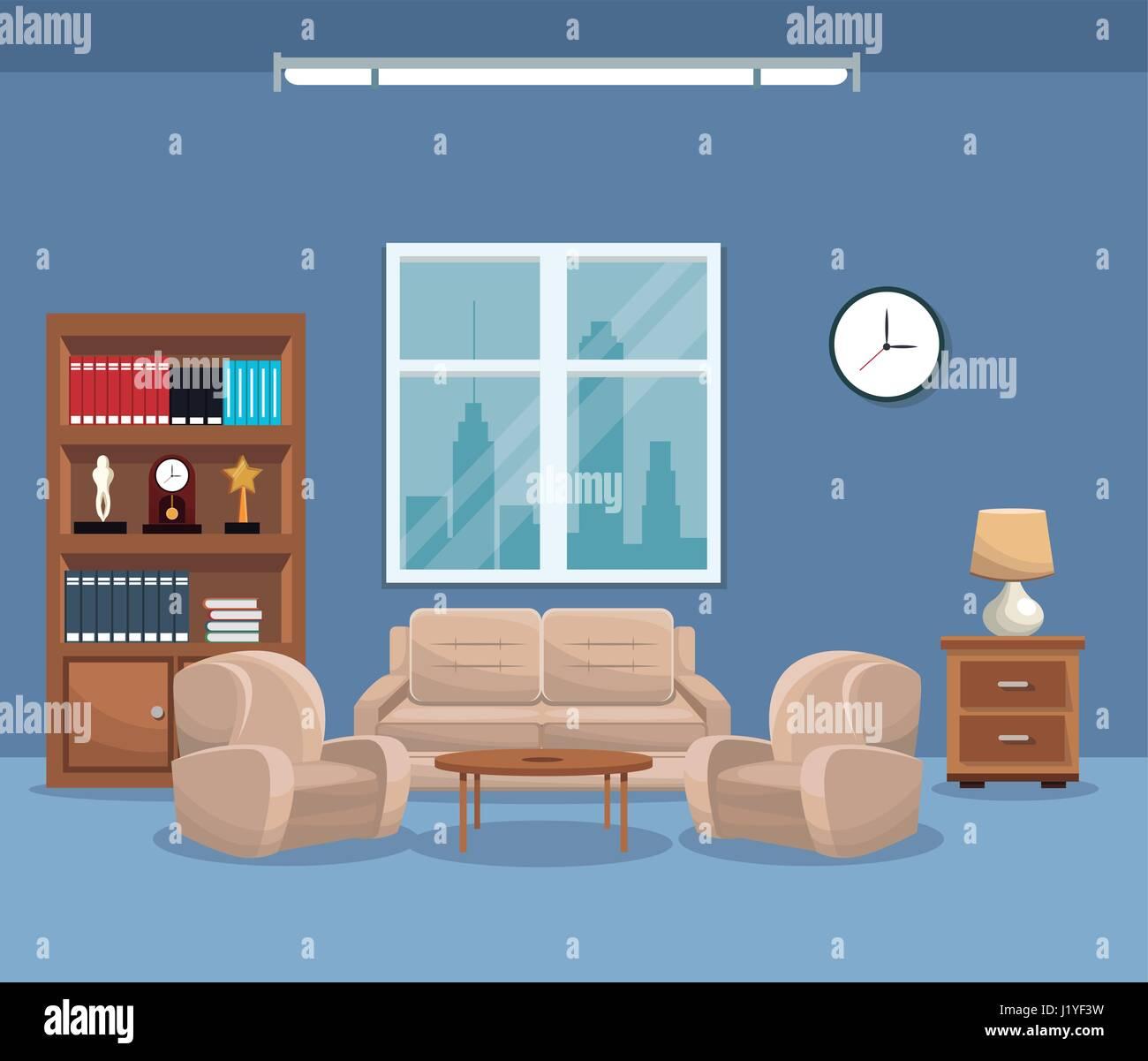 living room sofa bookcase table lamp window clock Stock Vector Art