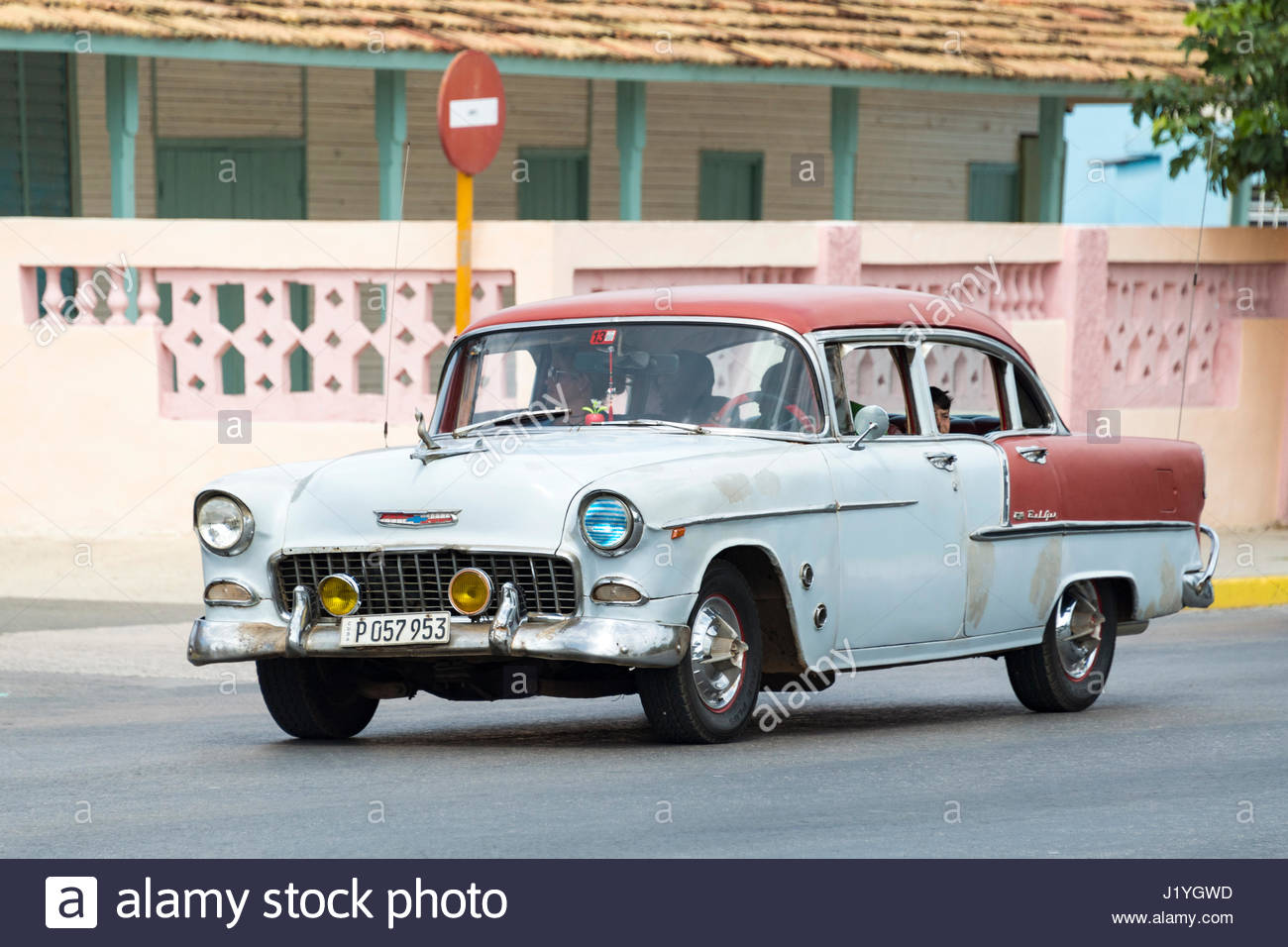 Chevrolet 1955. Old American vintage cars driving in good working ...
