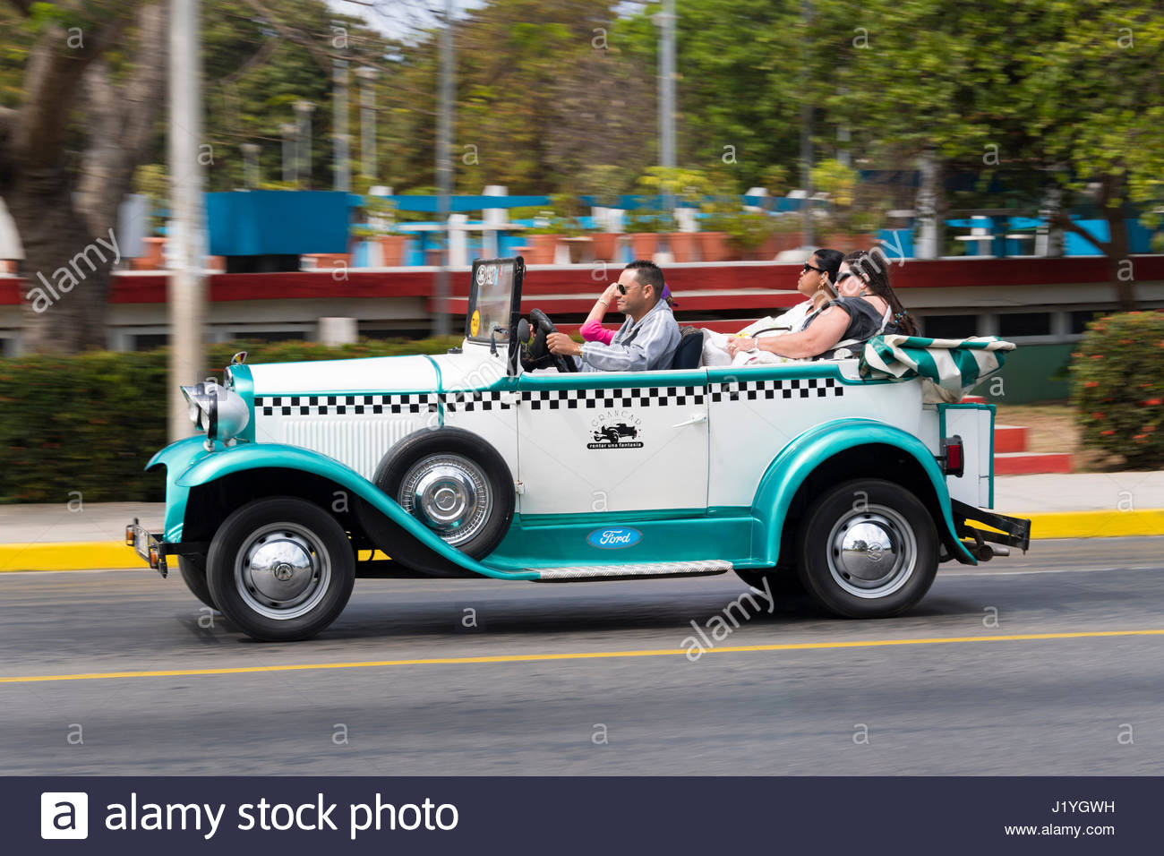 Gran Car taxi company. Old American vintage cars driving in good ...