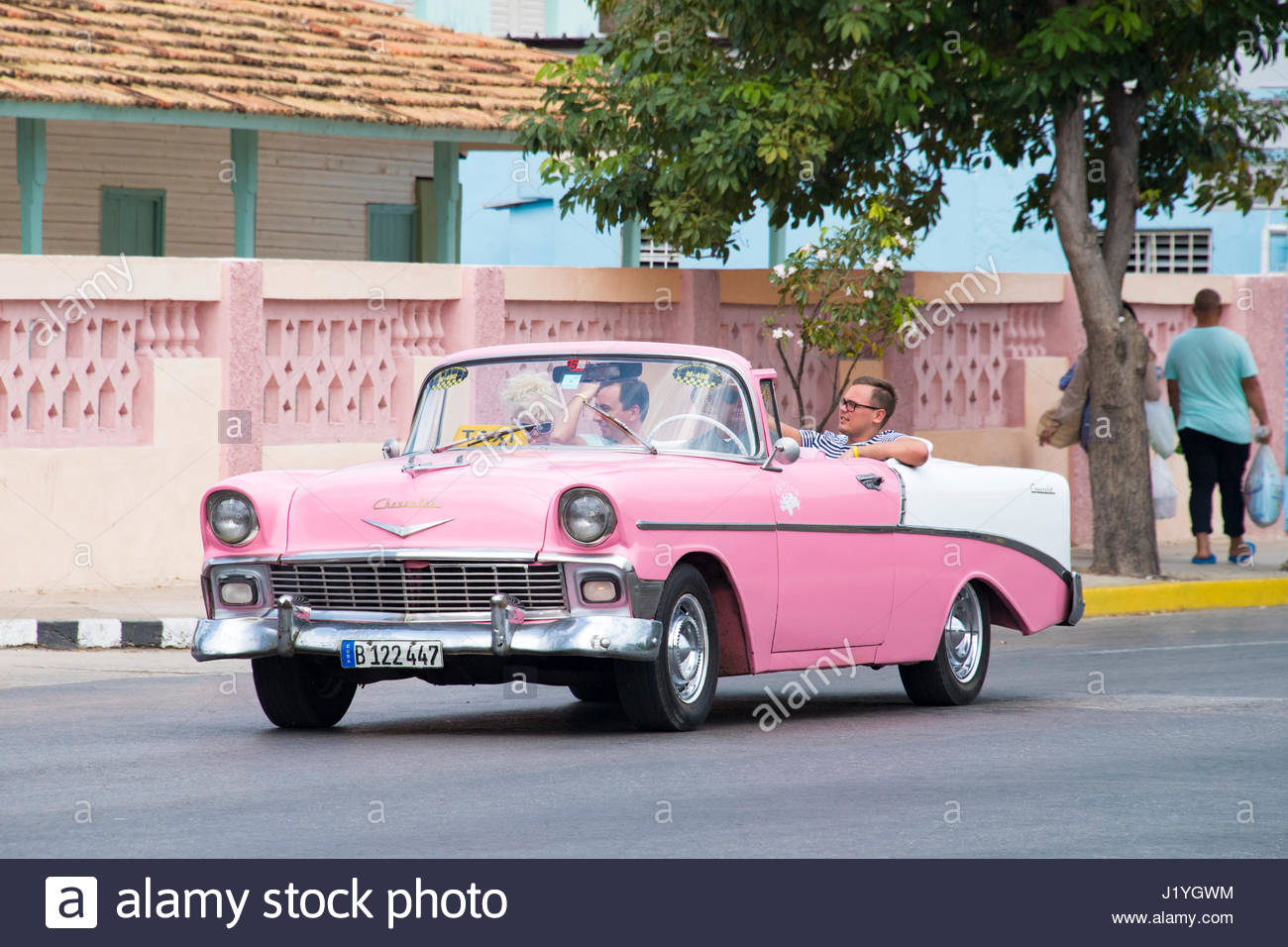Chevrolet 1957 convertible old American vintage cars driving in ...