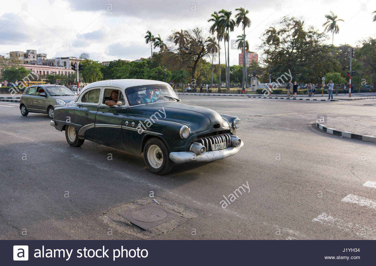 Old vintage American cars in the Cuban capital city. Due to lack of ...