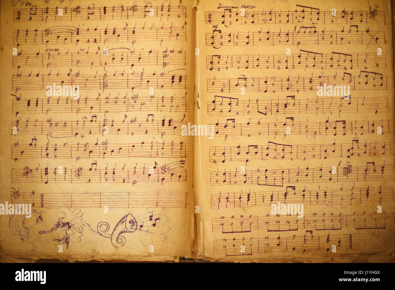 Musical Notes Background With Old Sheet Music Stock Photo