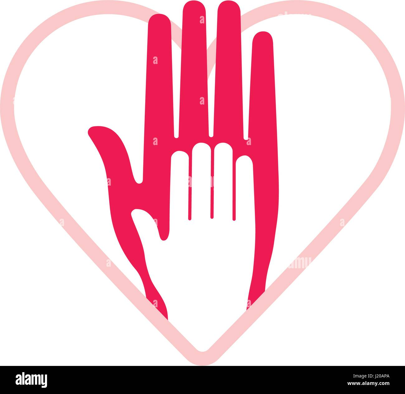 Vector design element hand of child lying on womans hand symbol hand of child lying on womans hand symbol of love safety and trust between mother and baby heart shape on background biocorpaavc
