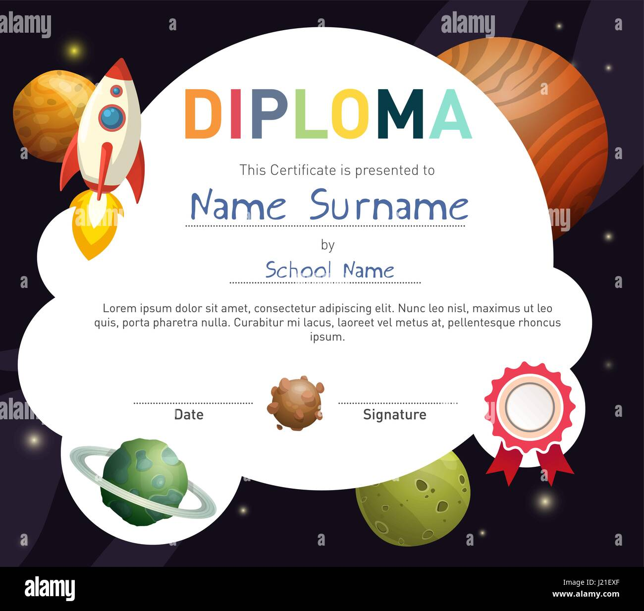 Science kids diploma template Stock Vector Art ...