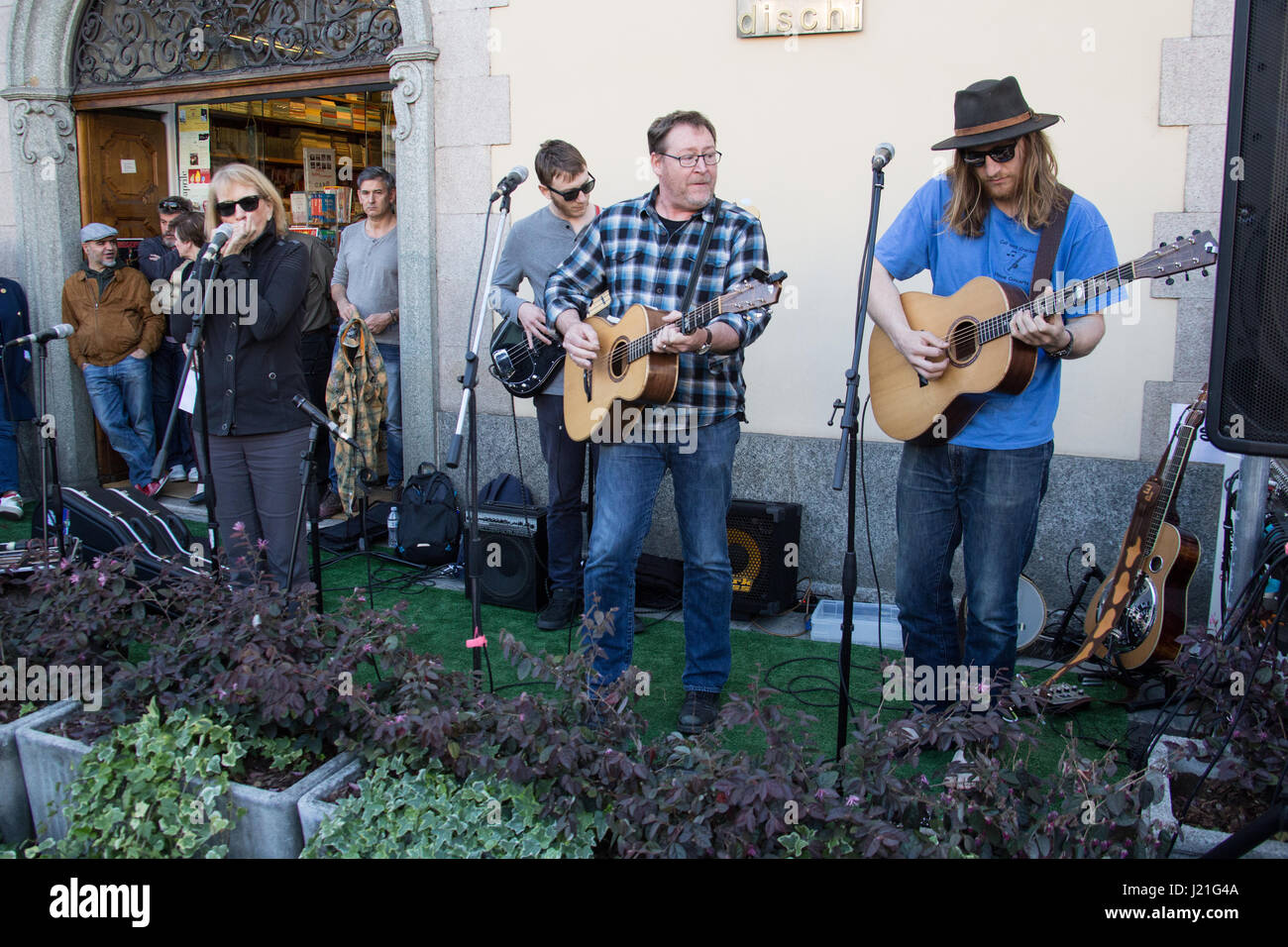 gallarate italy 22th april 2017 the american tim grimm family band performs live on stage during the record store day front of caru dischi most famous