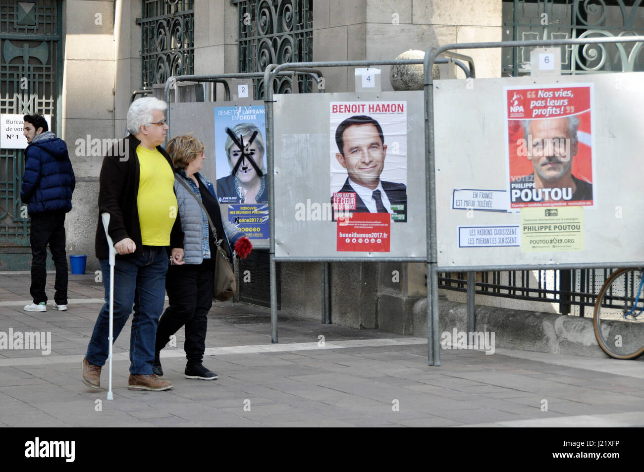 France elections 2017 live - 23rd Apr 2017 Election Campaign Posters With Presidential Candidates Marine Le Pen Benoit Hamon And Philippe Poutou In Montreuil Paris France