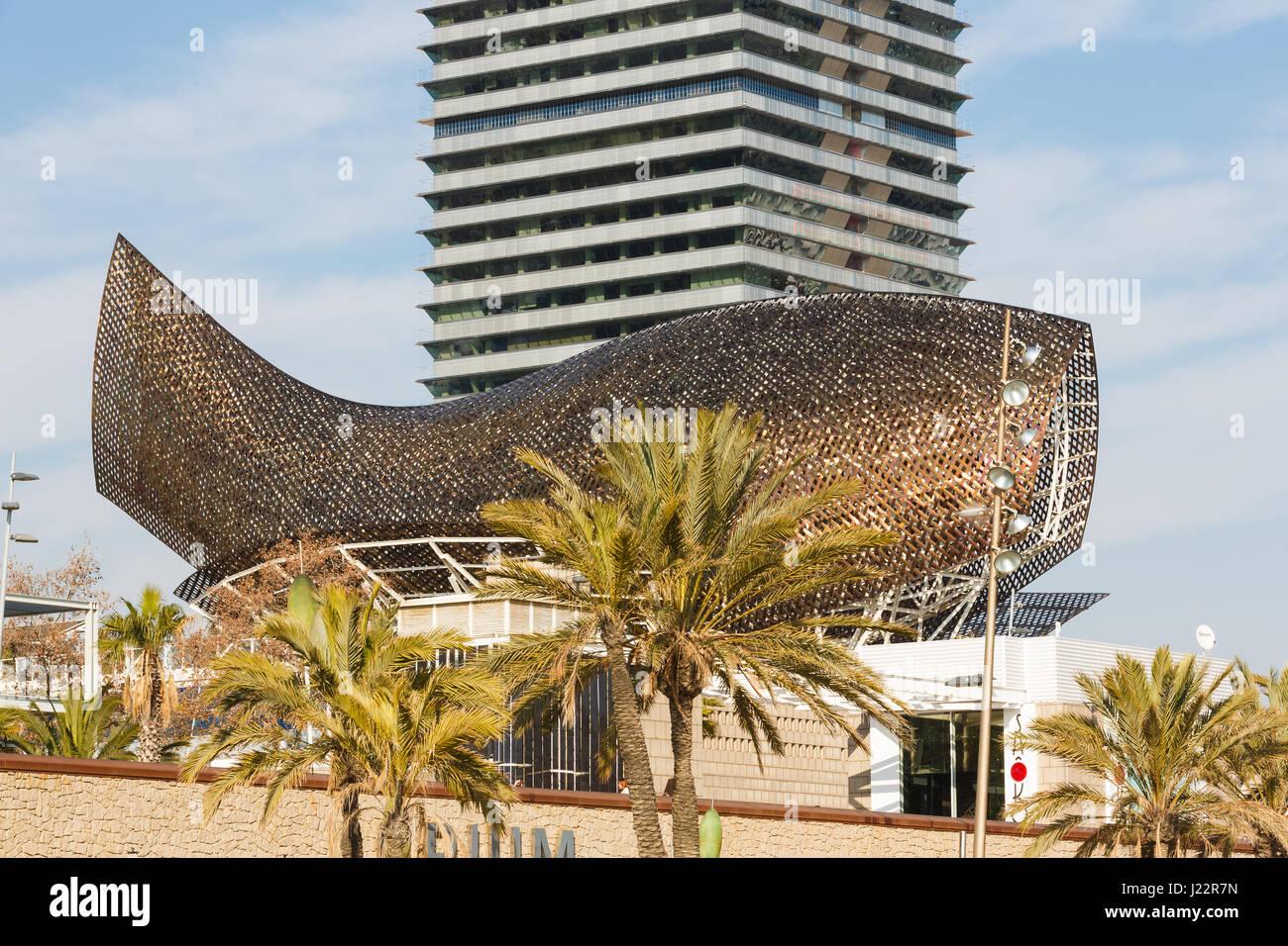Barcelona, Spain - January 07 2017: The modern buildings and Stock ...