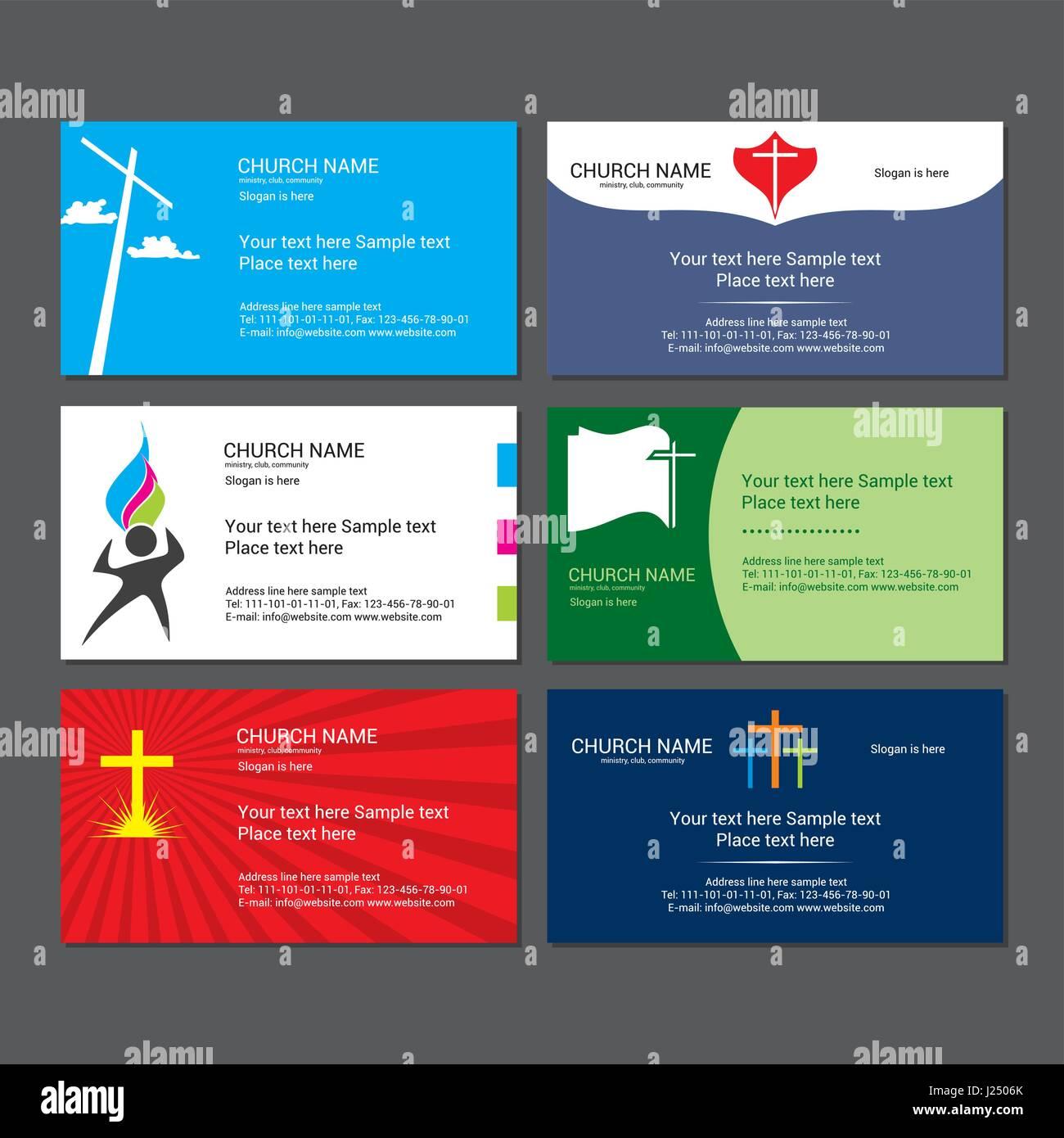 set christian business cards for the church stock vector art