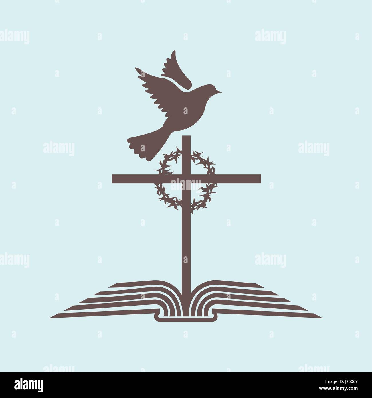 logo of the church the open bible the cross of jesus the crown