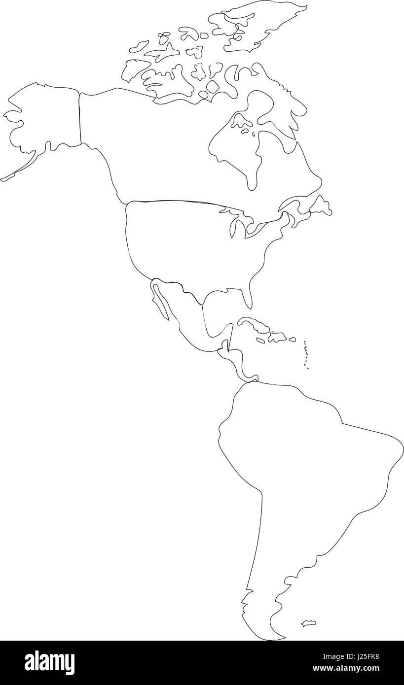 Line Vector Outline Map Of North And South America On White