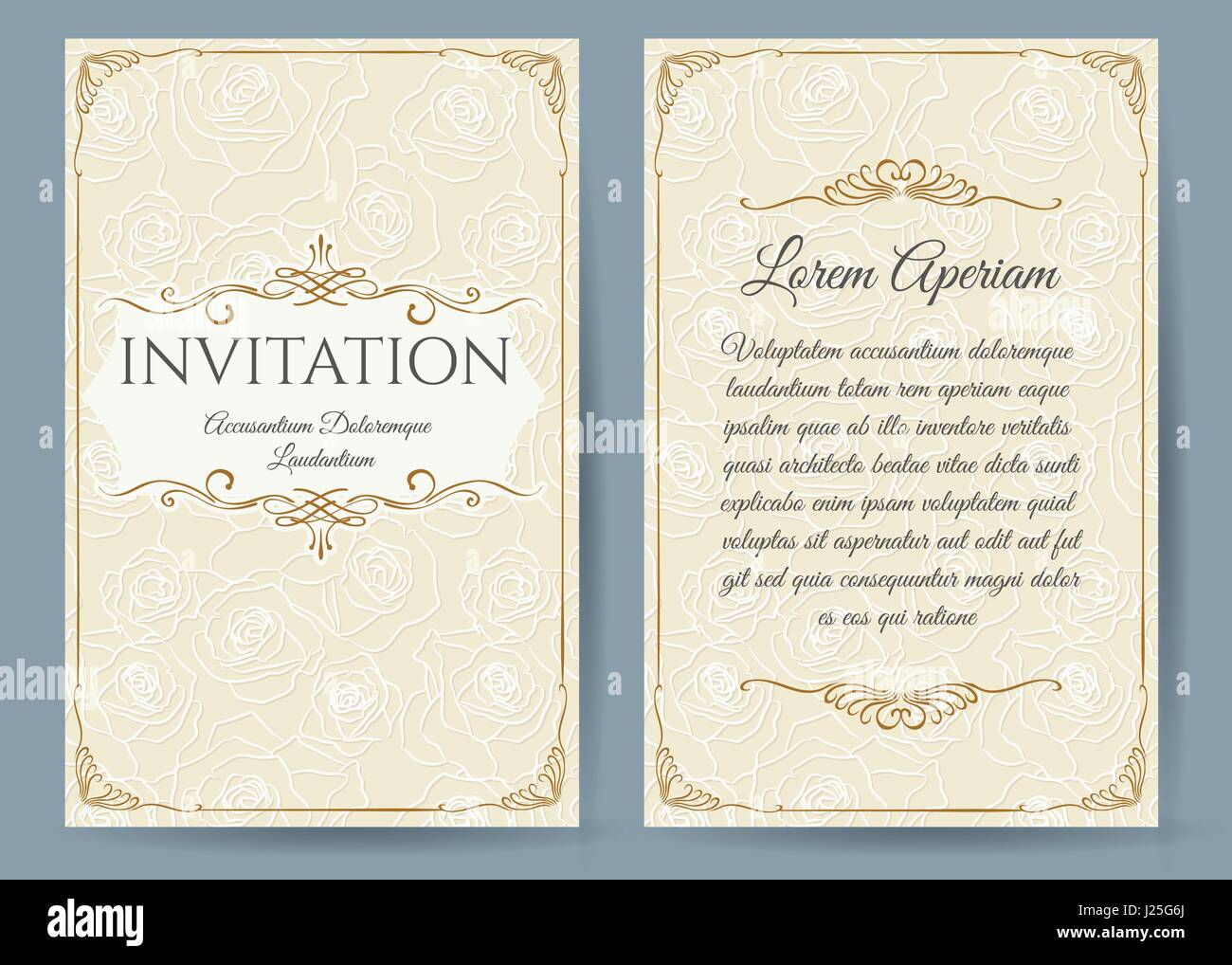 Baroque invitation card in vintage style floral decorative baroque invitation card in vintage style floral decorative elements on rose flower background for anniversary stopboris Images