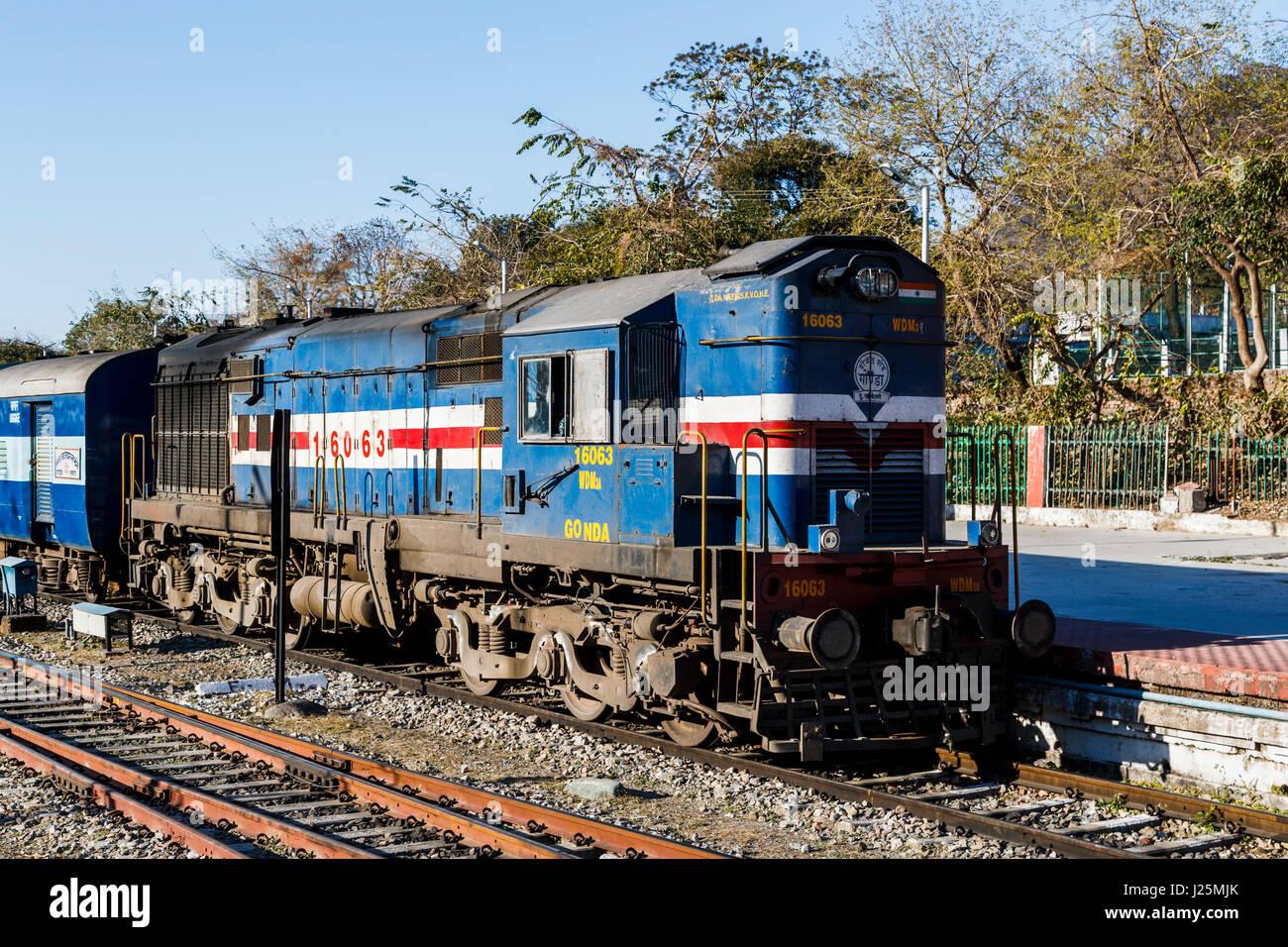 stationary indian railways blue diesel locomotive train engine