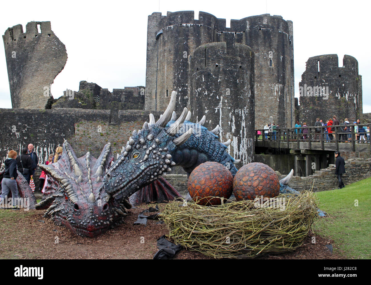 The Dragons Dewi And Dwynwen At Caerphilly Castle
