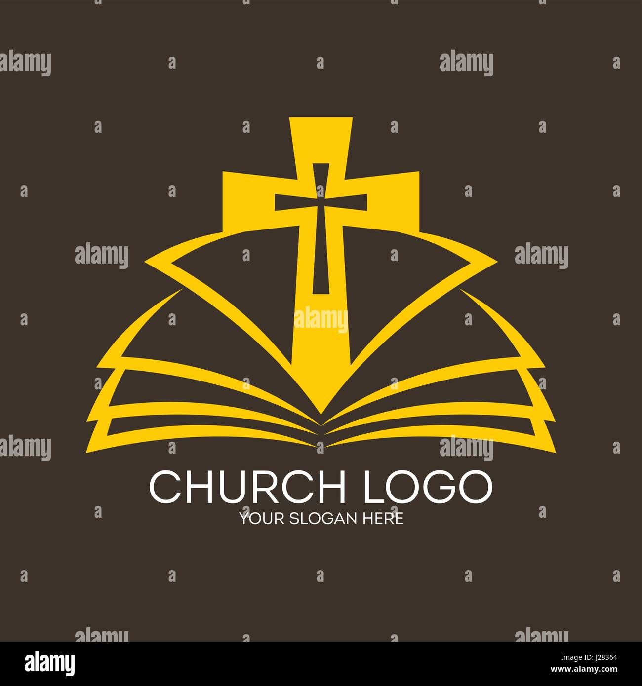 church logo the open bible and the cross of jesus stock vector