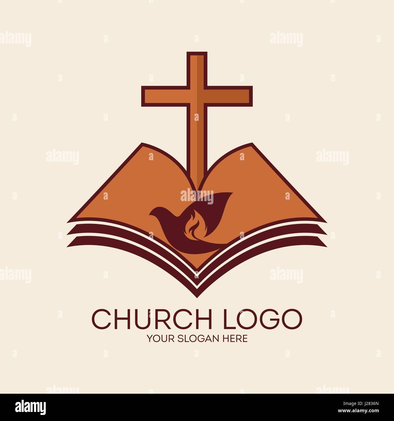 Church logo the cross of jesus the open bible and the dove a church logo the cross of jesus the open bible and the dove a symbol of the spirit of god thecheapjerseys Gallery