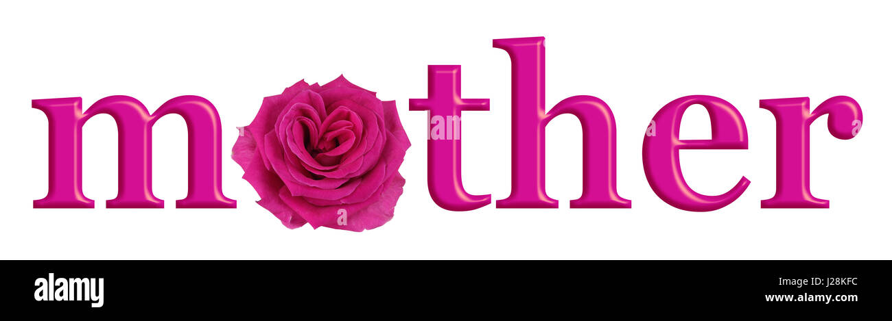 Mother's Day Pink Heart Rose banner - the word MOTHER with ...