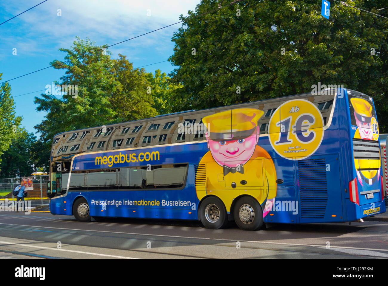 megabus at goethestrasse bus stops leipzig saxony germany stock photo royalty free image. Black Bedroom Furniture Sets. Home Design Ideas