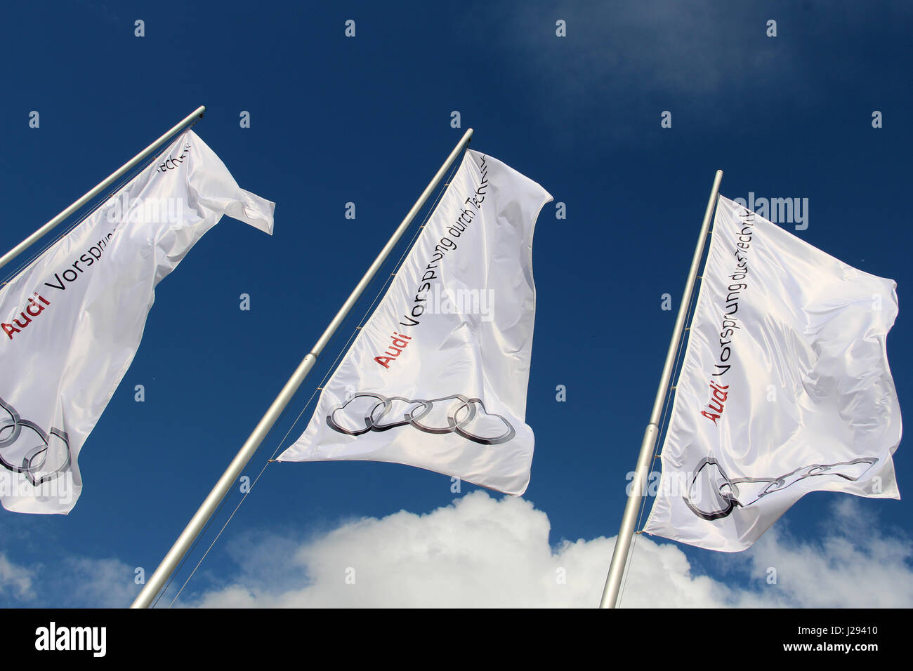Germany Flags In Front Of AUDI AG Headquarters In Ingolstadt - Audi worldwide