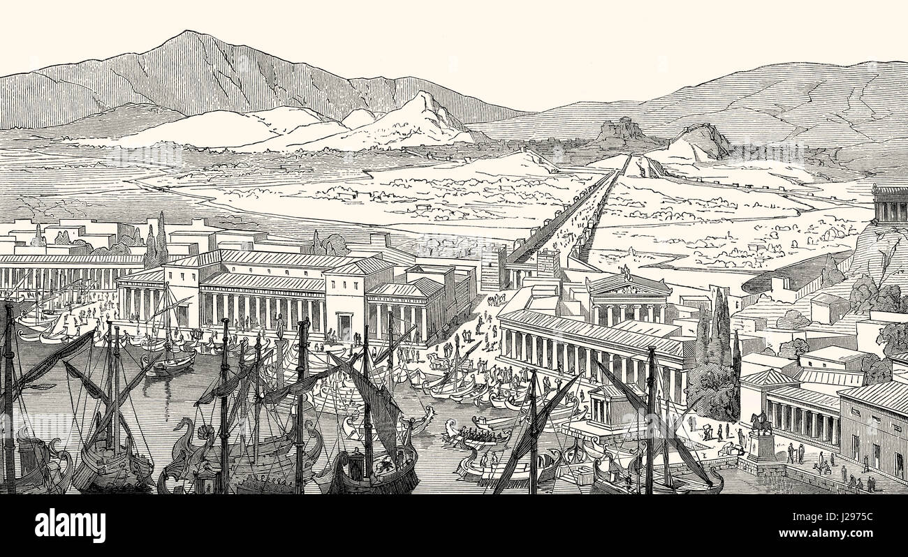 Beautiful Long Pictures For Walls Part - 3: Reconstruction Of The Long Walls Connecting Athens To Its Port At Piraeus  In Ancient Greece