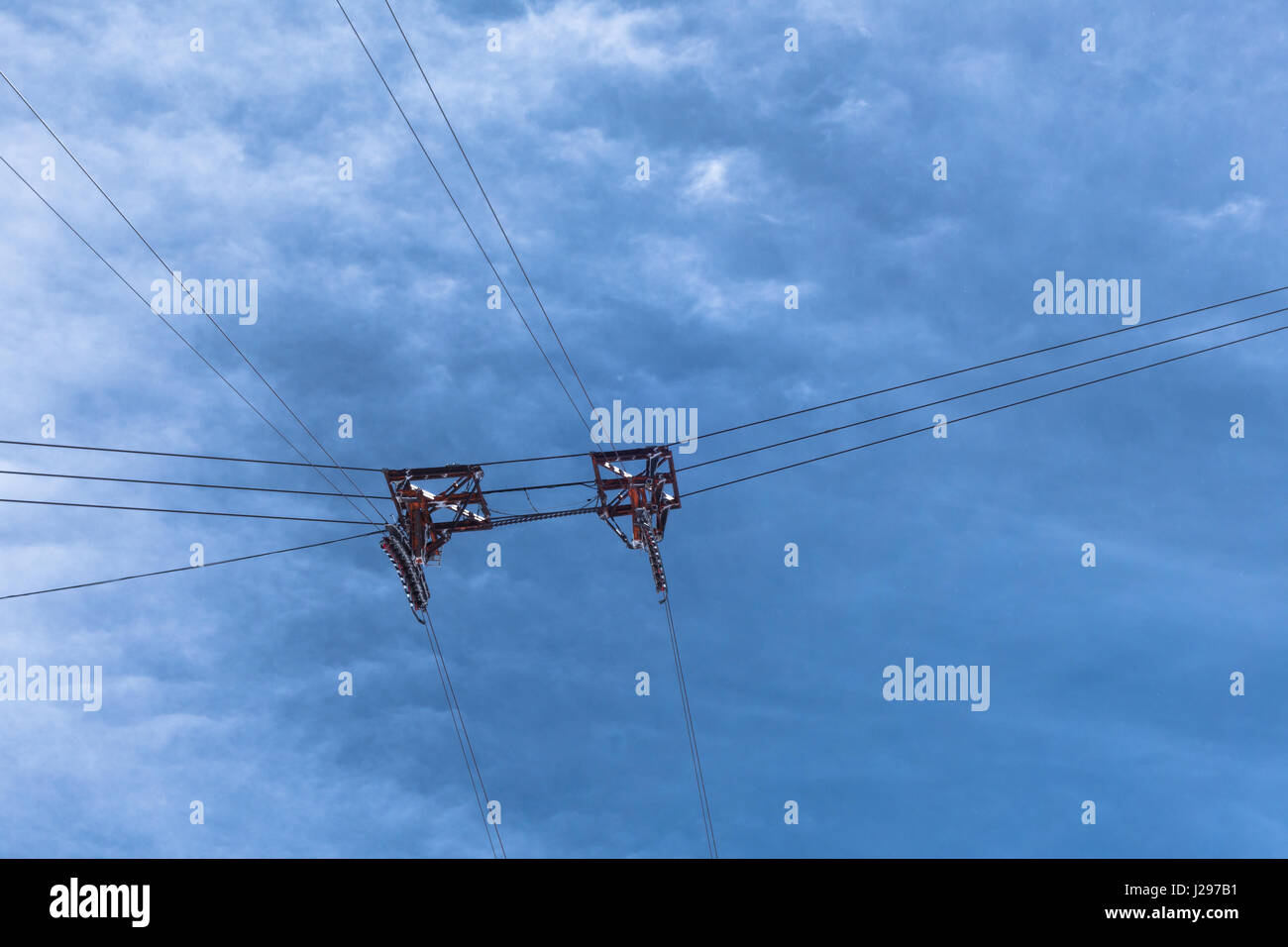 Cable car ski lift pulley wheels suspended by wires cables high ...