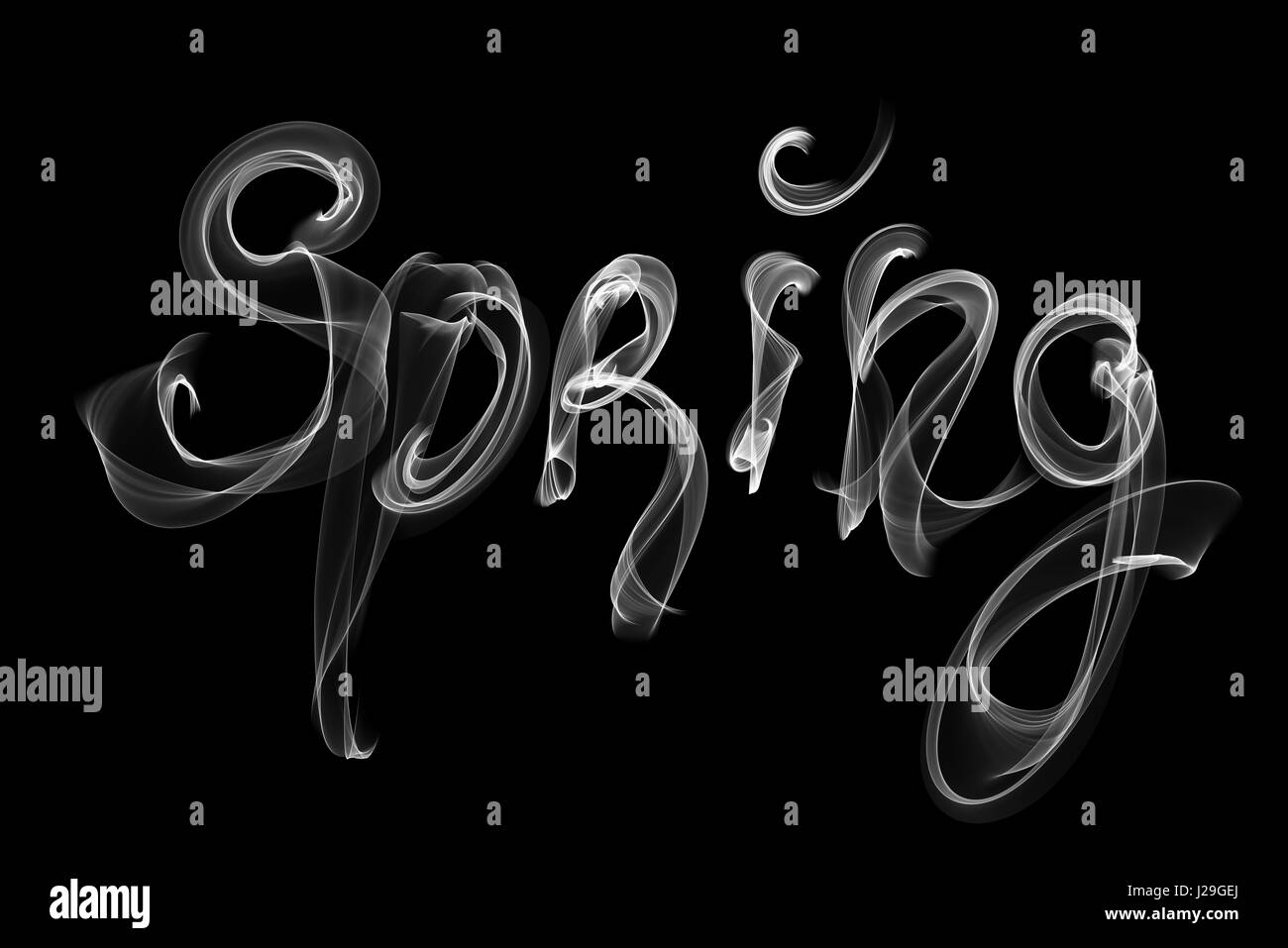 Spring Lettering Word Written With White Smoke Or Flame