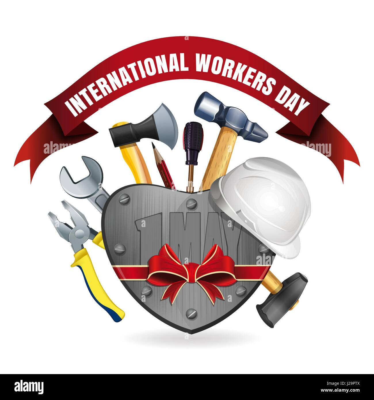 1 may happy international workers day may day greeting card for happy international workers day may day greeting card for labor day with a set of tools vector illustration buycottarizona Choice Image