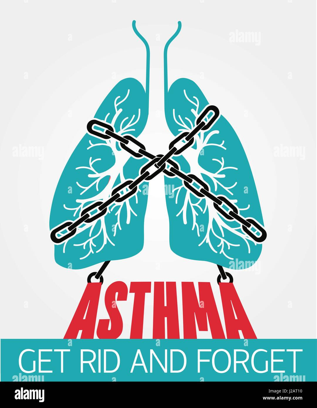 concept bronchial asthma, in the form of lungs are chain-bound, Powerpoint templates
