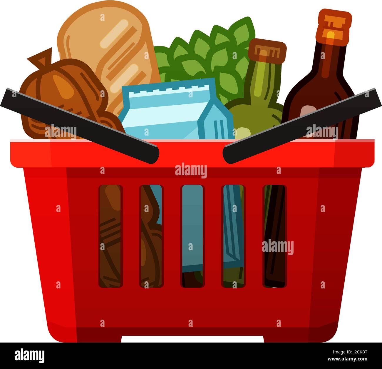 Grocery shopping. Basket, store, food and drinks icon ...