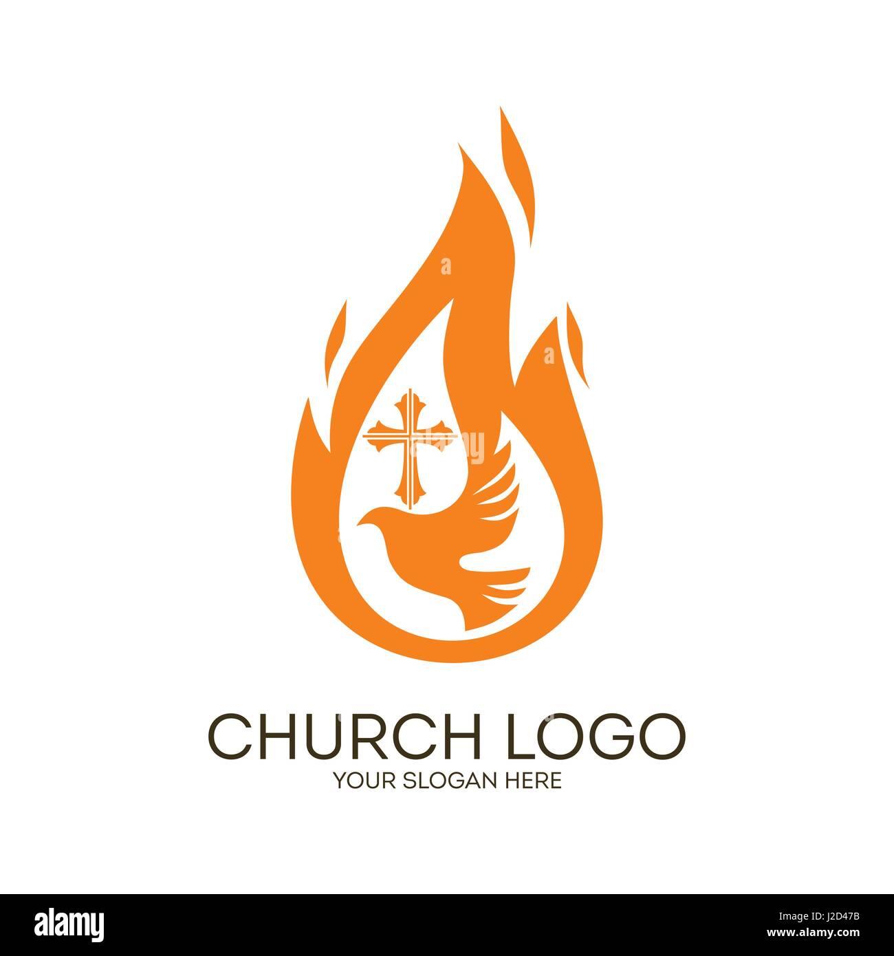 Church logo christian symbols dove the flame of the holy spirit christian symbols dove the flame of the holy spirit and the cross of jesus biocorpaavc