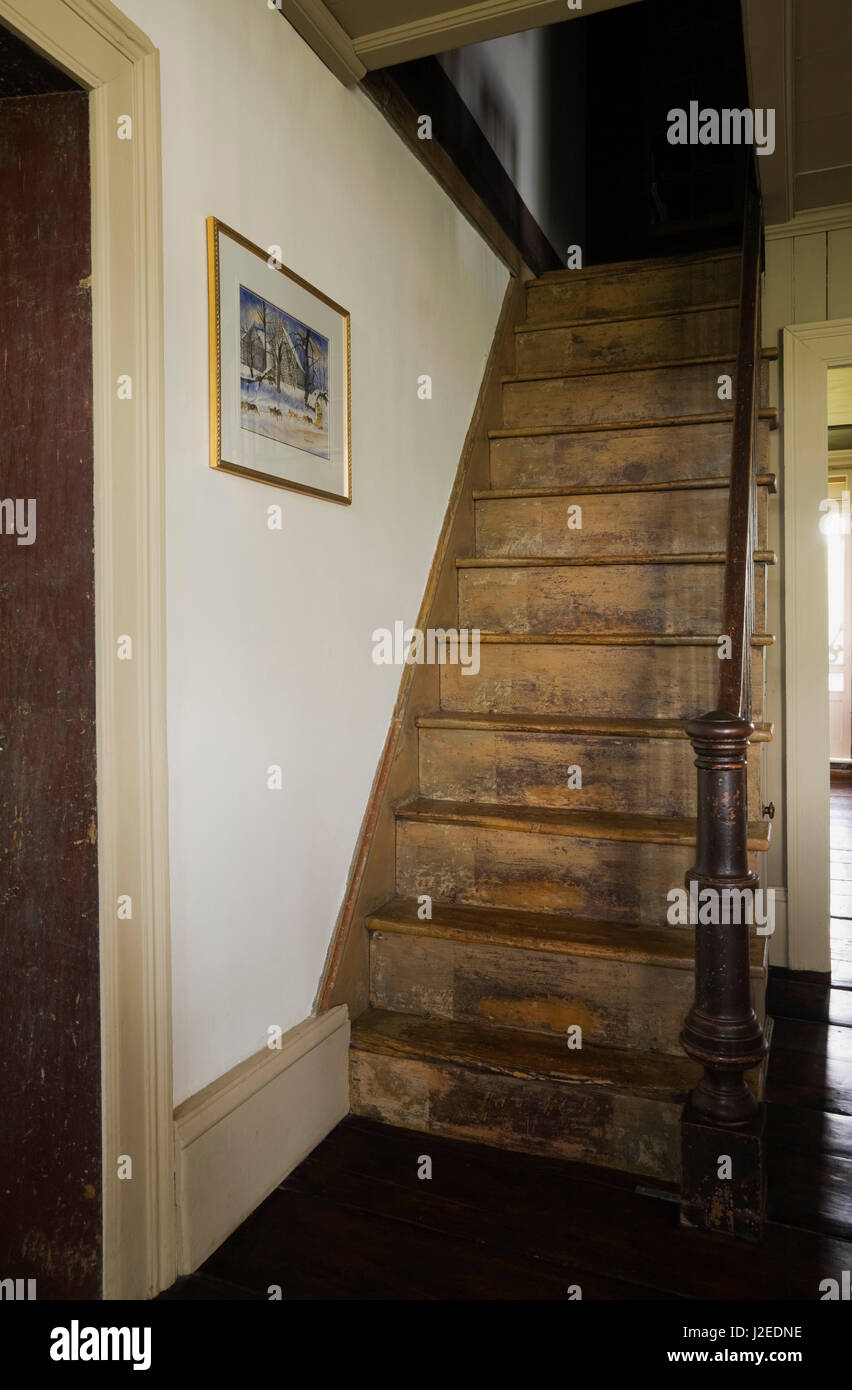 Old Wooden Steep Staircase In Original Kitchen And Dining Room Leading To  Upstairs Floor Inside An Old 1785 Fieldstone Cottage Style Residential Home