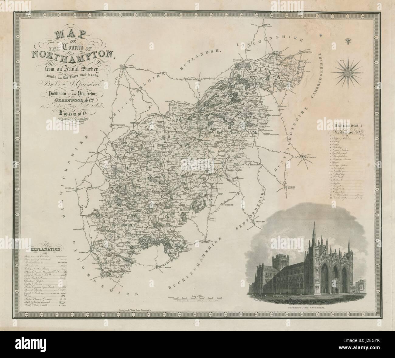 Map of the county of Northampton Northamptonshire GREENWOOD 75x60cm