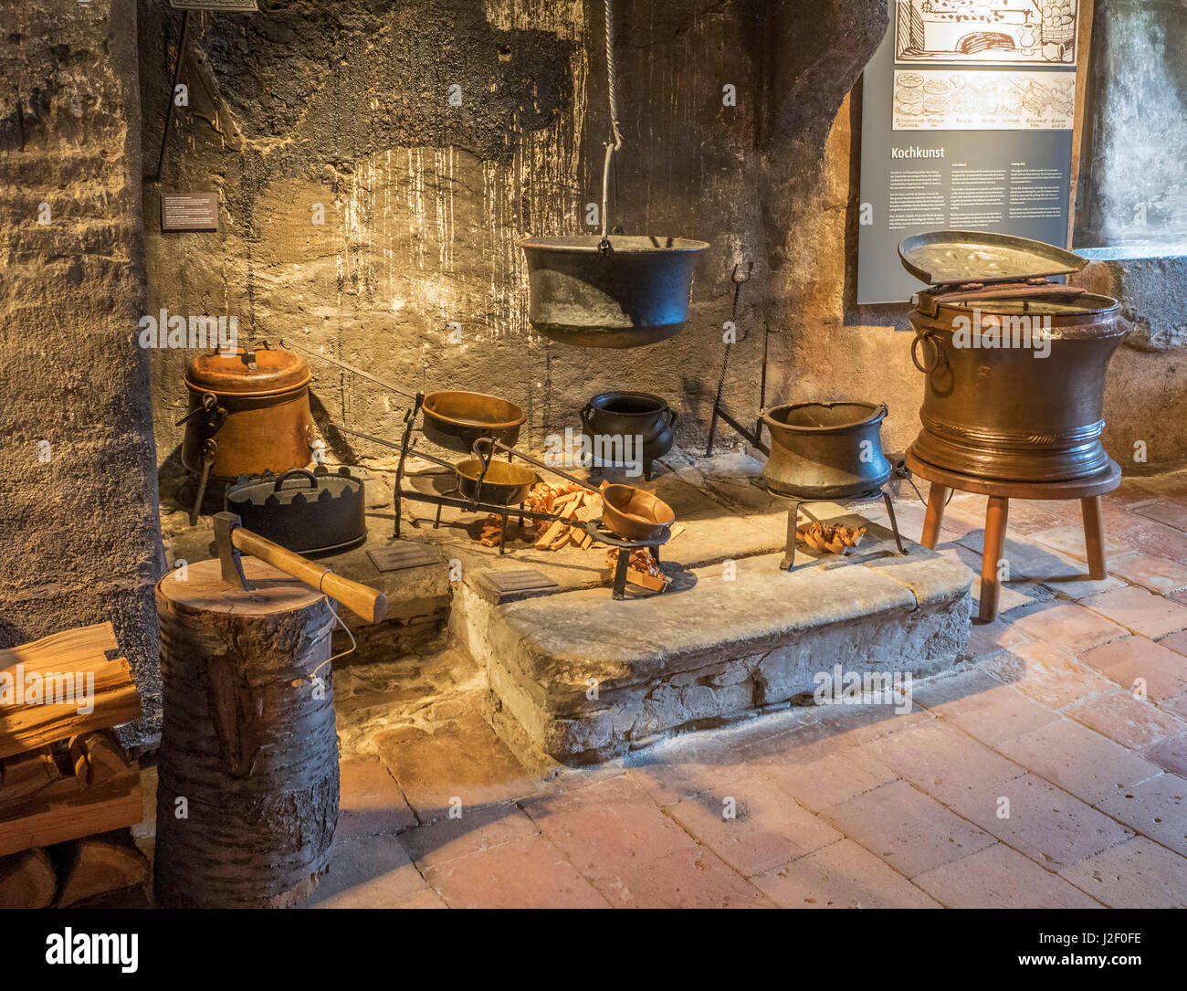 Switzerland, Bern Canton, Spiez, Spiez Castle, fireplace used for ...