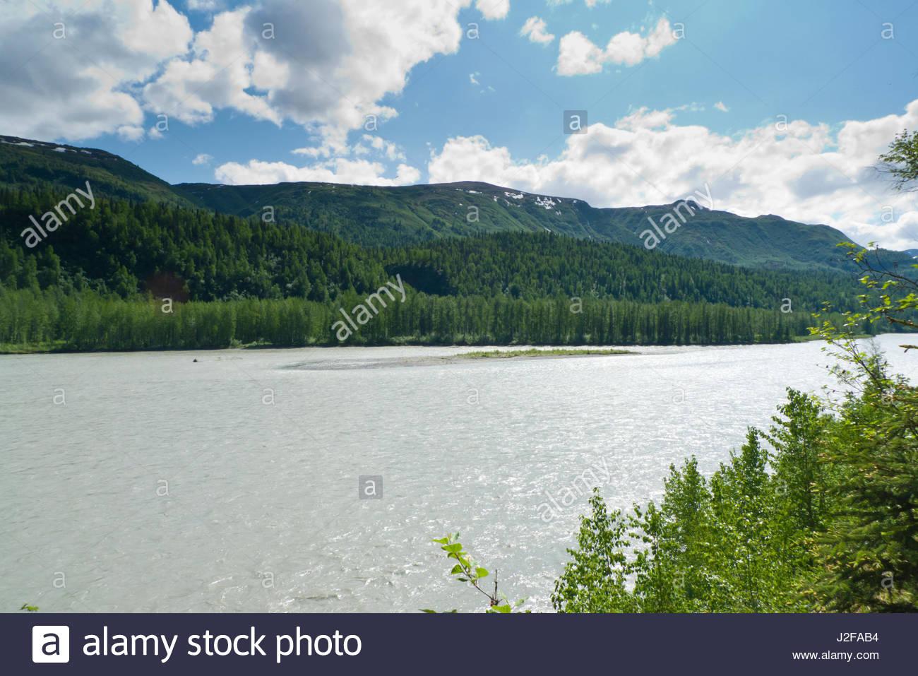 Alaska matanuska susitna county talkeetna - Stock Photo Susitna River Talkeetna Mountains Matanuska Susitna Borough Alaska Usa