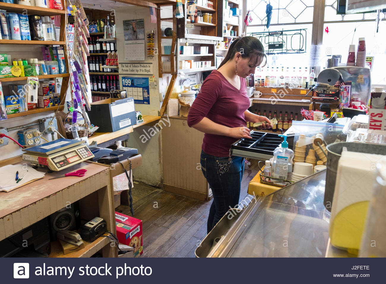 Alaska matanuska susitna county talkeetna - Woman Working Behind Counter Inside Nagley S Store Talkeetna Matanuska Susitna Borough Alaska Usa