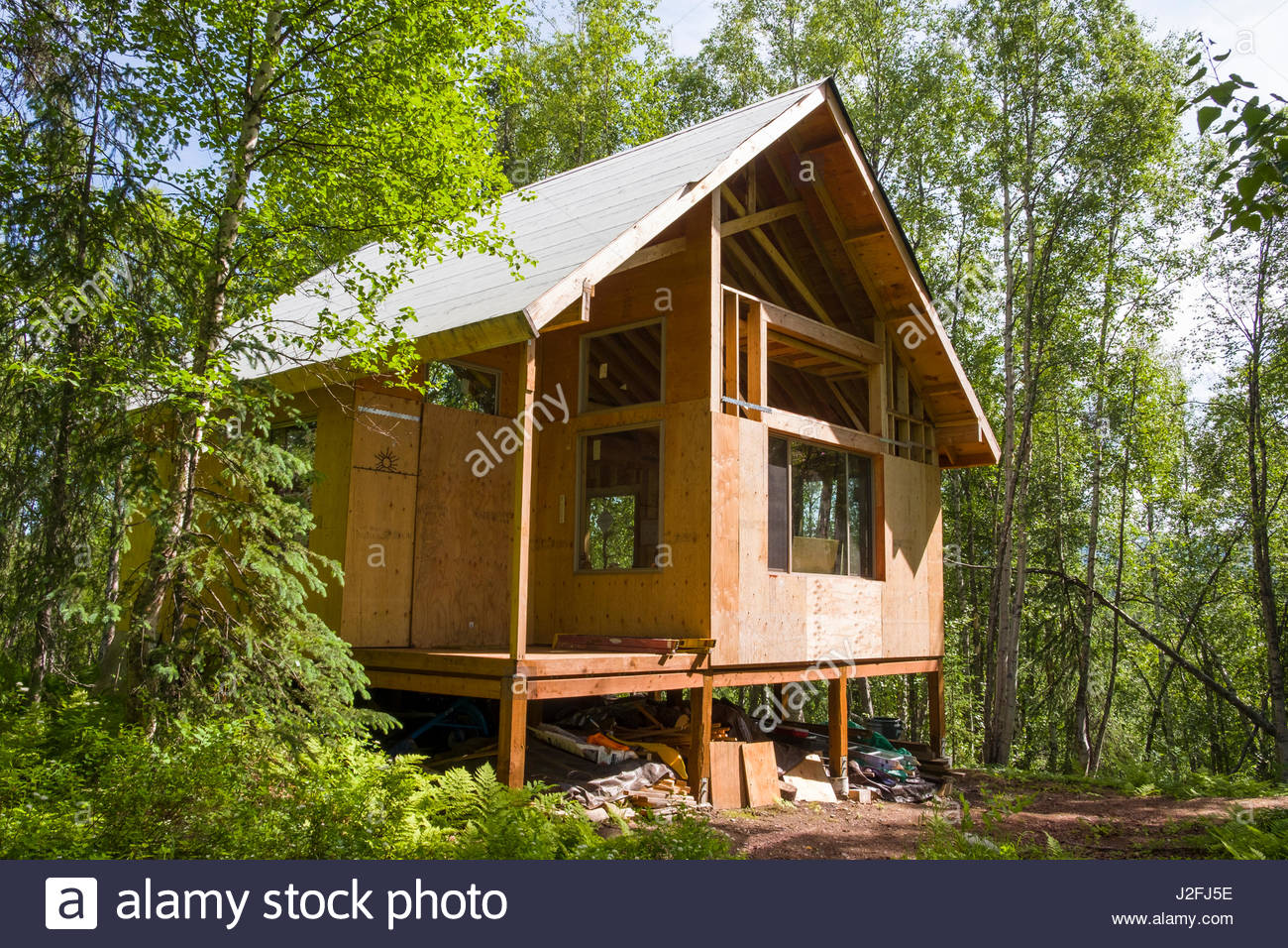 Remote off grid alaskan cabin under construction for Alaska cottage
