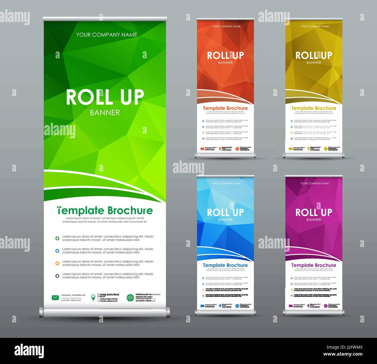 Green roll up business brochure flyer banner design vertical template - Set Of Roll Up Banner For Business With Abstract Polygonal Background Template Of A Vertical Brochure With A Place For A Photo Vector Illustration