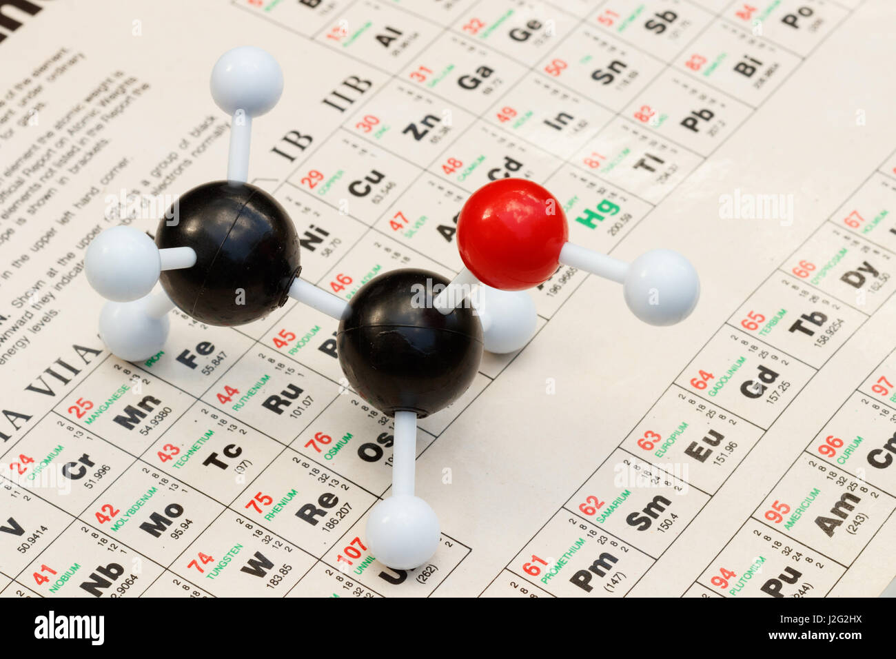 Ball and stick model of ethanol alcohol c2h5oh with the ball and stick model of ethanol alcohol c2h5oh with the periodic table of elements on the background gamestrikefo Gallery