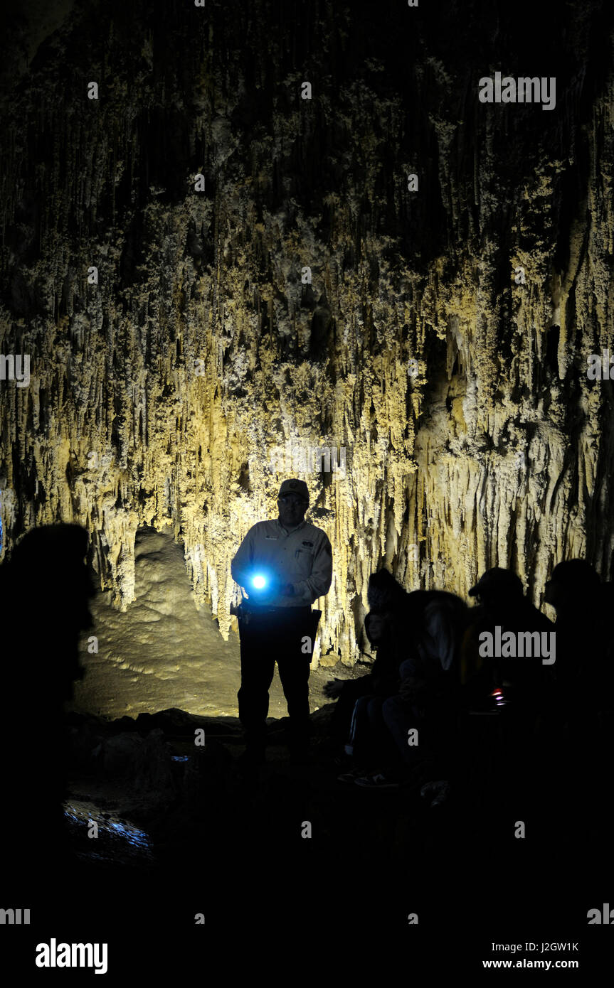 New mexico eddy county - Stock Photo Usa New Mexico Eddy County Carlsbad Caverns National Park Tour Guide With Light At The Carlsbad Caverns