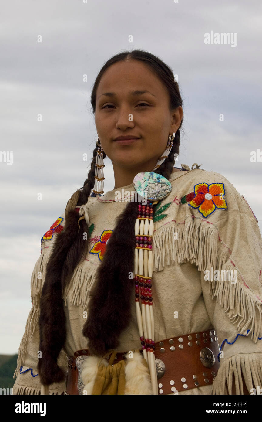 Dressed In Traditional Dress Of The Mandan Indians And