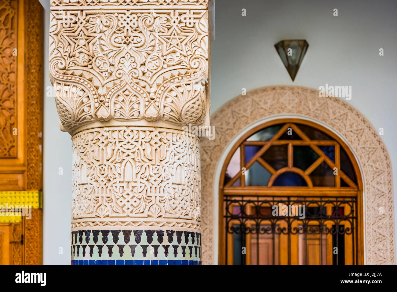 Detail. Riad is a traditional Moroccan house or palace ...