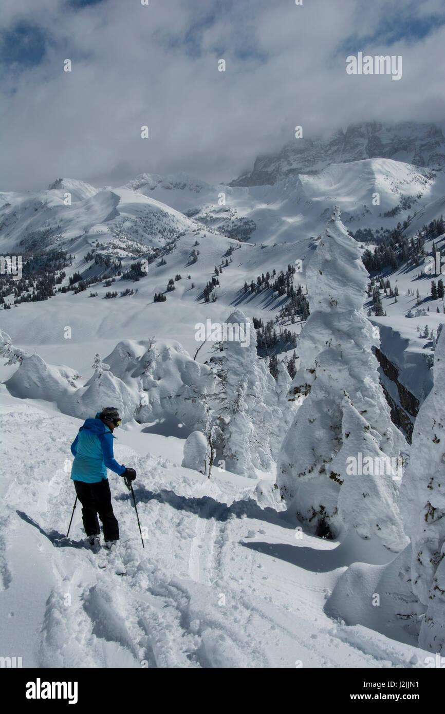 Patty Skiing Amongst Ghost Trees Grand Targhee Ski Resort Wyoming - Grand targhee resort