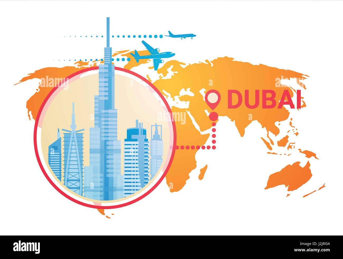 Dubai Skyline Panorama Over World Map Modern Building Cityscape