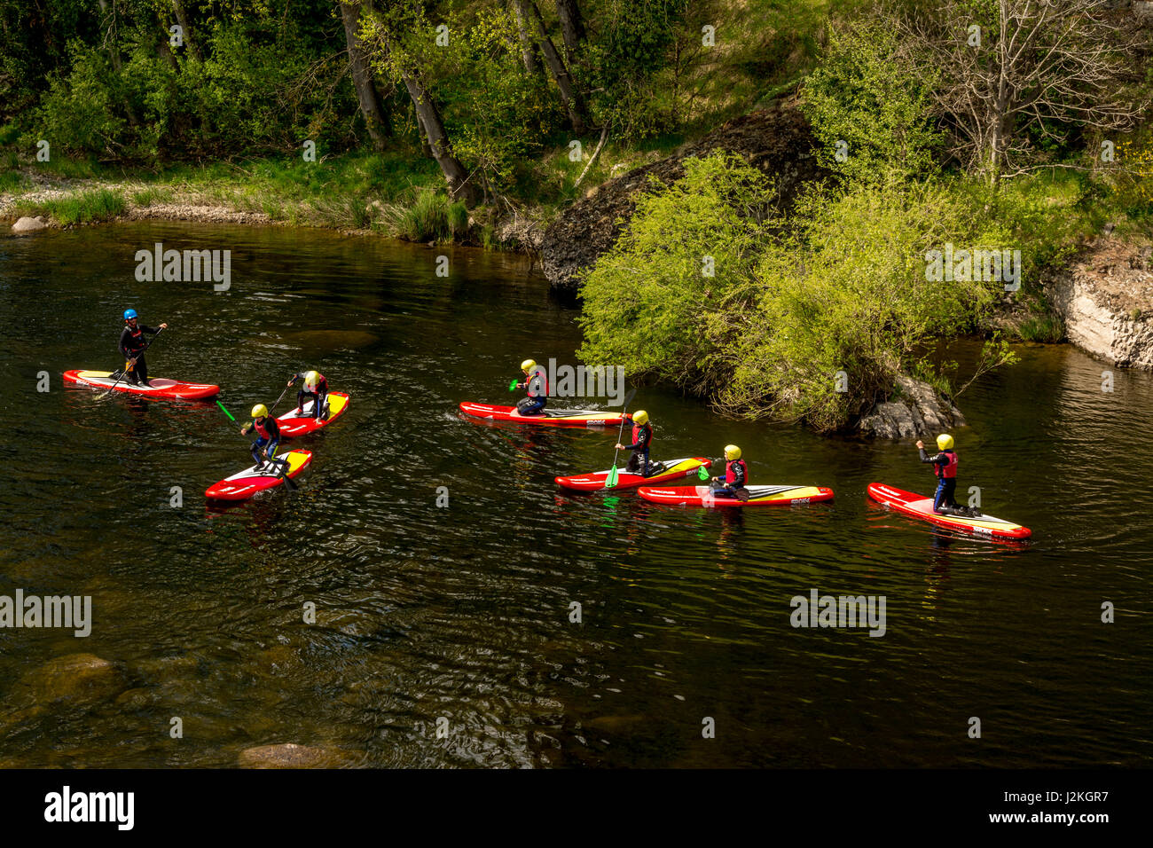 canoeists on river allier near prades haute loire. Black Bedroom Furniture Sets. Home Design Ideas