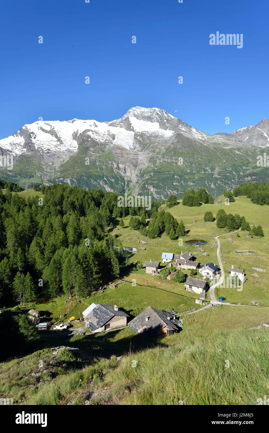 France, Savoie, Haute Tarentaise, Le Monal (1847m) dominated by the ...